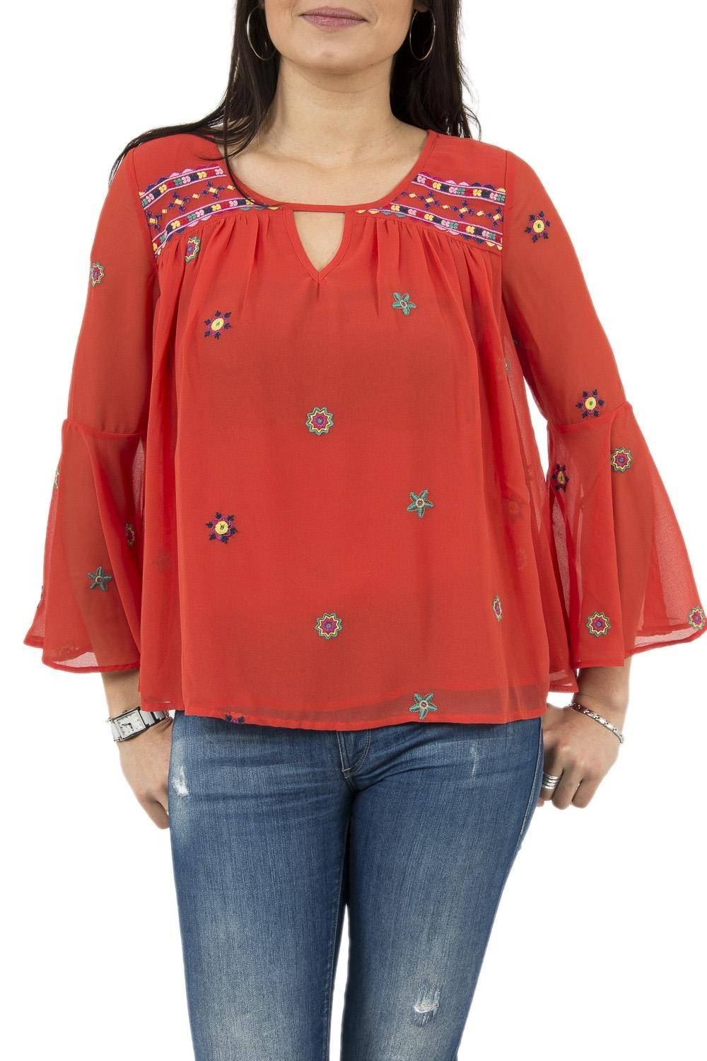 tee shirt manches longues desigual 18swbw51 karissa rouge