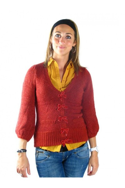 gilets cardigans only pacy rouge
