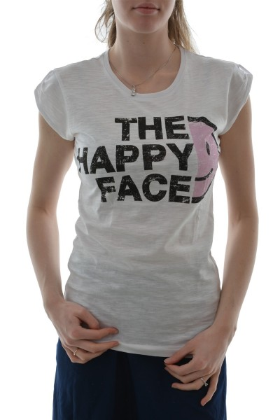 tee shirt happiness the happy face blanc