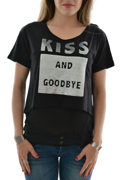 tee shirt guess jeans w62p44 embellished noir