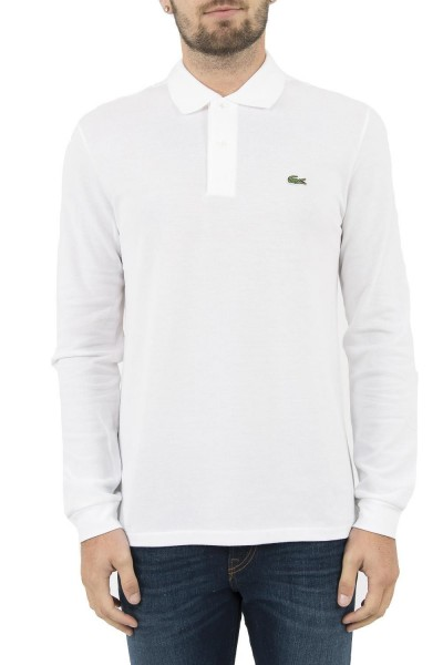 polos manches longues lacoste l1312 blanc