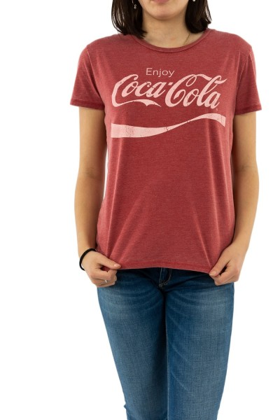 tee shirt jeanstation coca rouge chine