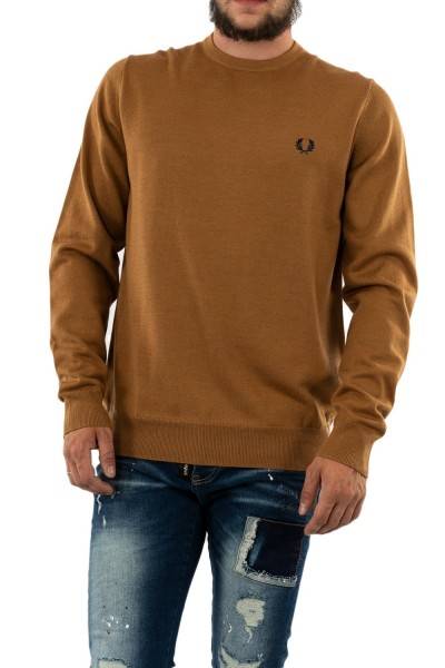 pull hiver fred perry classic crew neck 450 caramel