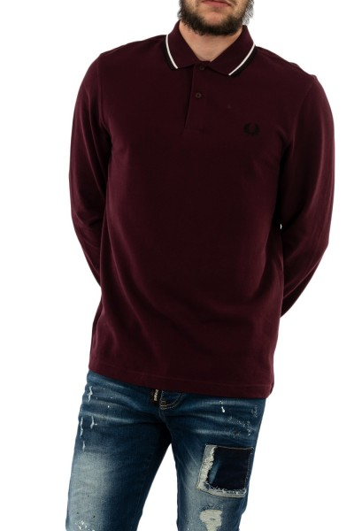 polos manches longues fred perry m3636 799 mahogany