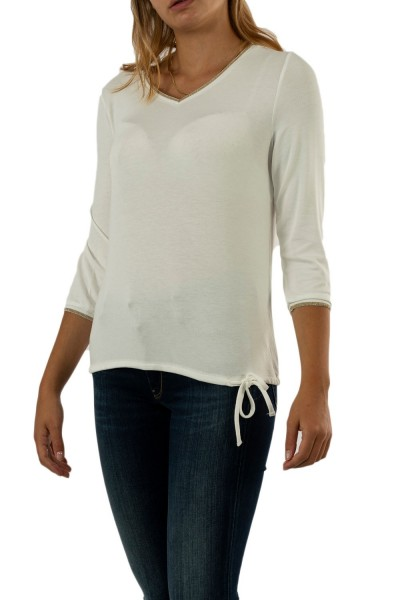 tee shirt manches longues street one v-neck w.shiny cuffs 10108 off white