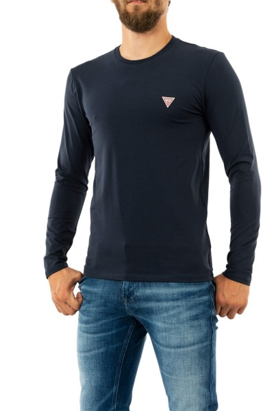tee shirt manches longues guess jeans core g720 blue navy