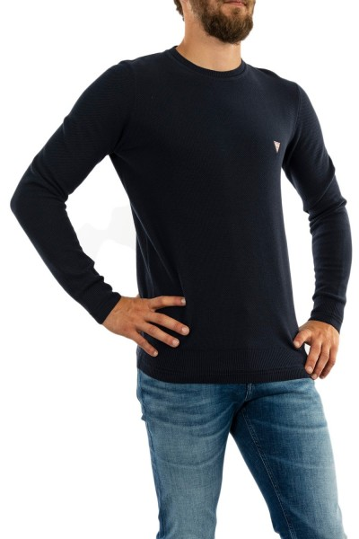 pull hiver guess jeans piquet g720 blue navy