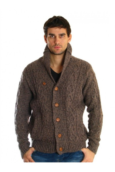 pull hiver selected dre shawl neck ca gris
