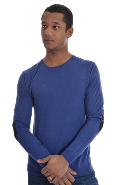 pull hiver selected myron deep crew neck bleu