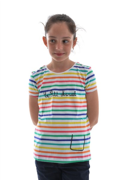 tee shirts manches courtes Little Marcel tess blanc