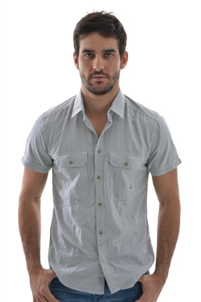 chemise manches courtes Jack And Jones mind shirt gris