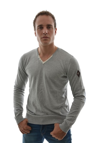 pull hiver dn sixtyseven sm355 men's v.neck sweater gris