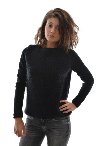 pull hiver street one key nila pullover with bouclé front noir